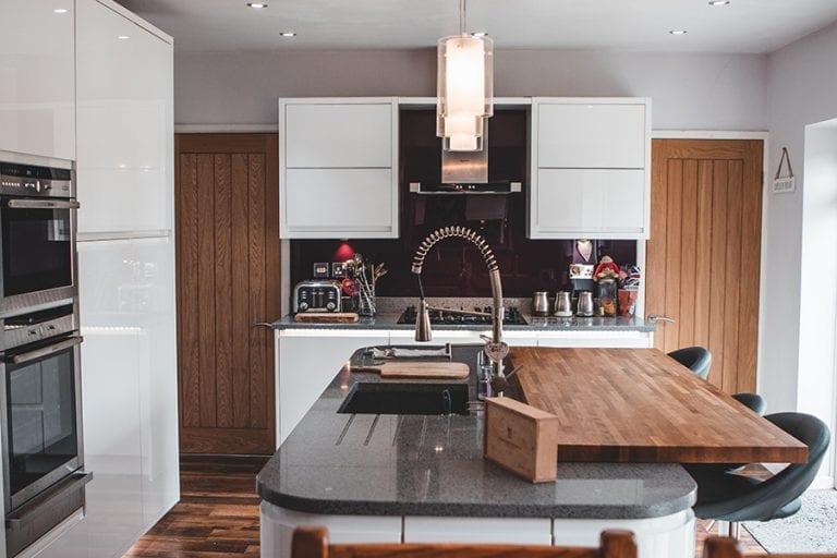 new kitchen in white gloss grappenhall warrington cheshire