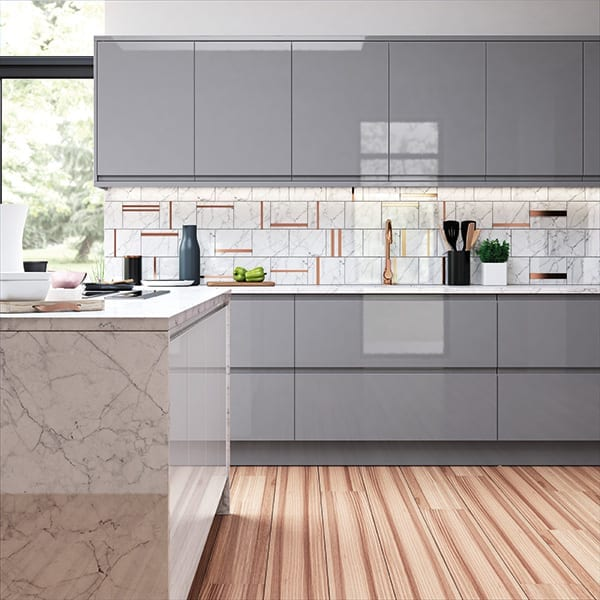 modern handleless gloss kitchen in dust grey