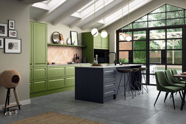 Harborne Slate Blue, Stone & Citrus Green